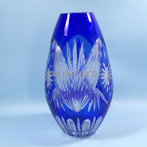 High Quality Bohemian Czech Cobalt Blue Cut To Clear Crystal Glass