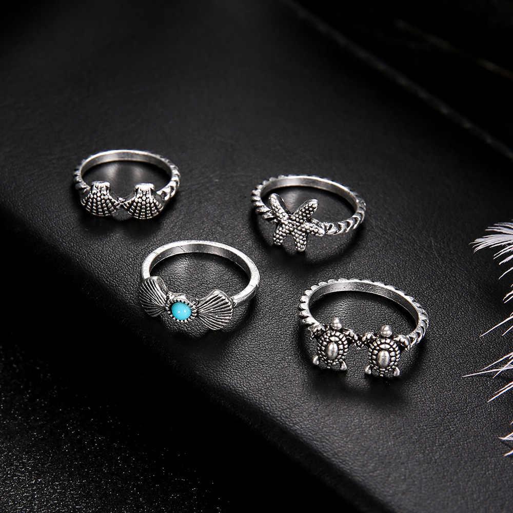 Vintage ปลาดาวปลาดาวเต่าชุดแหวนสำหรับผู้หญิงแหวนนิ้วมือเงินสี Boho Bohemian Jewellery