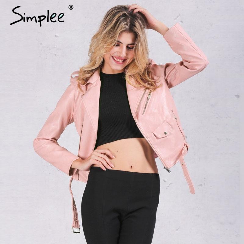 Simplee Zipper PU basic jacket coat Classic leather jacket women winter outerwear & coats Short black motorcycle jacket 2017