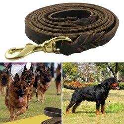 1Pc trwałe plecione skórzane smycz Walking szkolenia prowadzi dla psa owczarek niemiecki produkty dla zwierzaka domowego dla średnich duże psy smycz