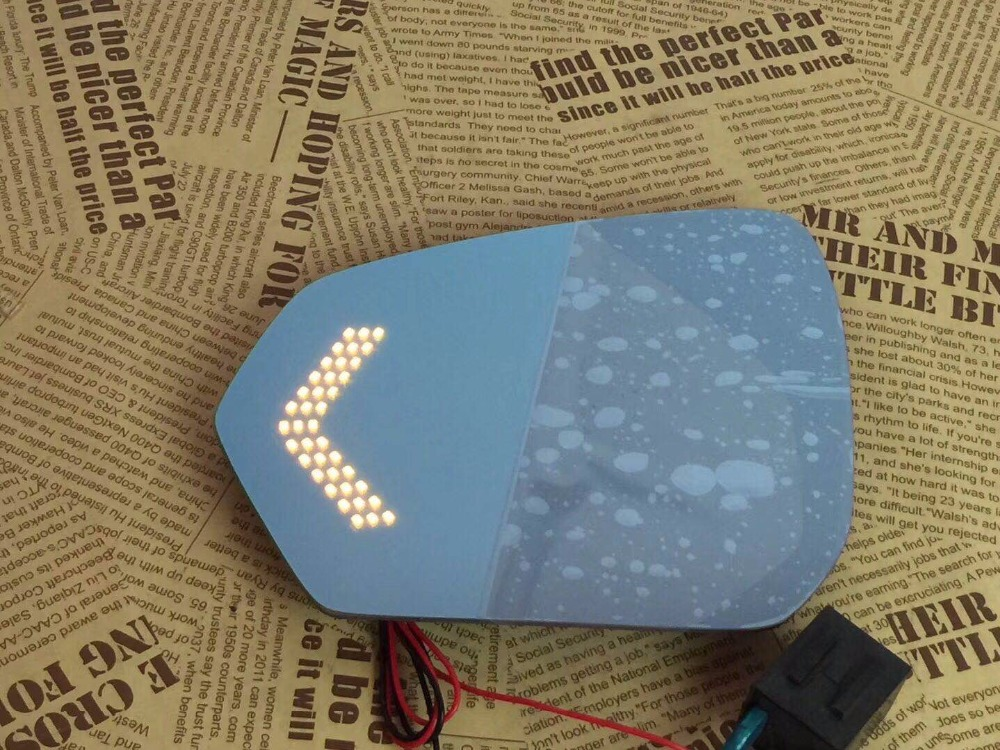 Osmrk blue rear view mirror for Skoda Octavia with electric heating  led dynamic side turn signal anti glaring  bigger vision|Mirror & Covers| |  - title=