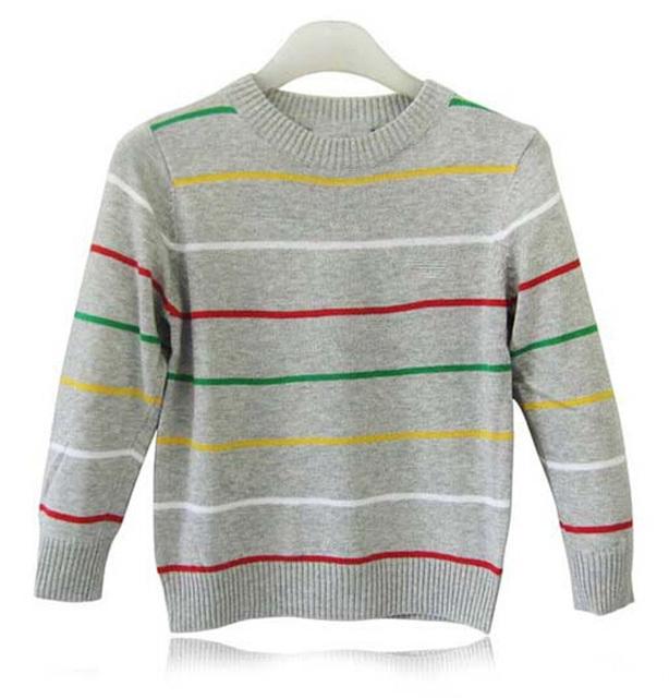 De los bebés del suéter de la raya nueva moda 2015 estilo otoño primavera kid suéter de punto nuevo de los niños de diseño vetement marque