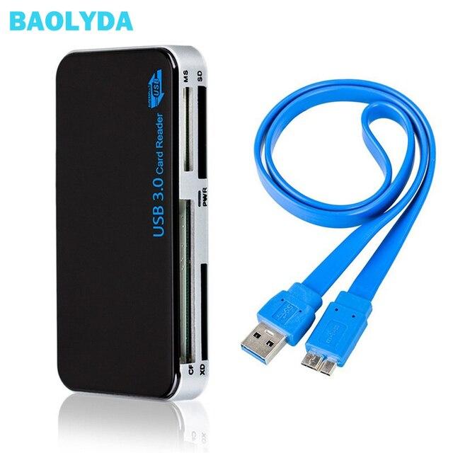 Baolyda SD Card Reader USB 3.0 OTG/CF/Multi Card Reader SD/Micro SD/TF/ CF/MS Compact Flash Scheda di Memoria Intelligente Adattatore