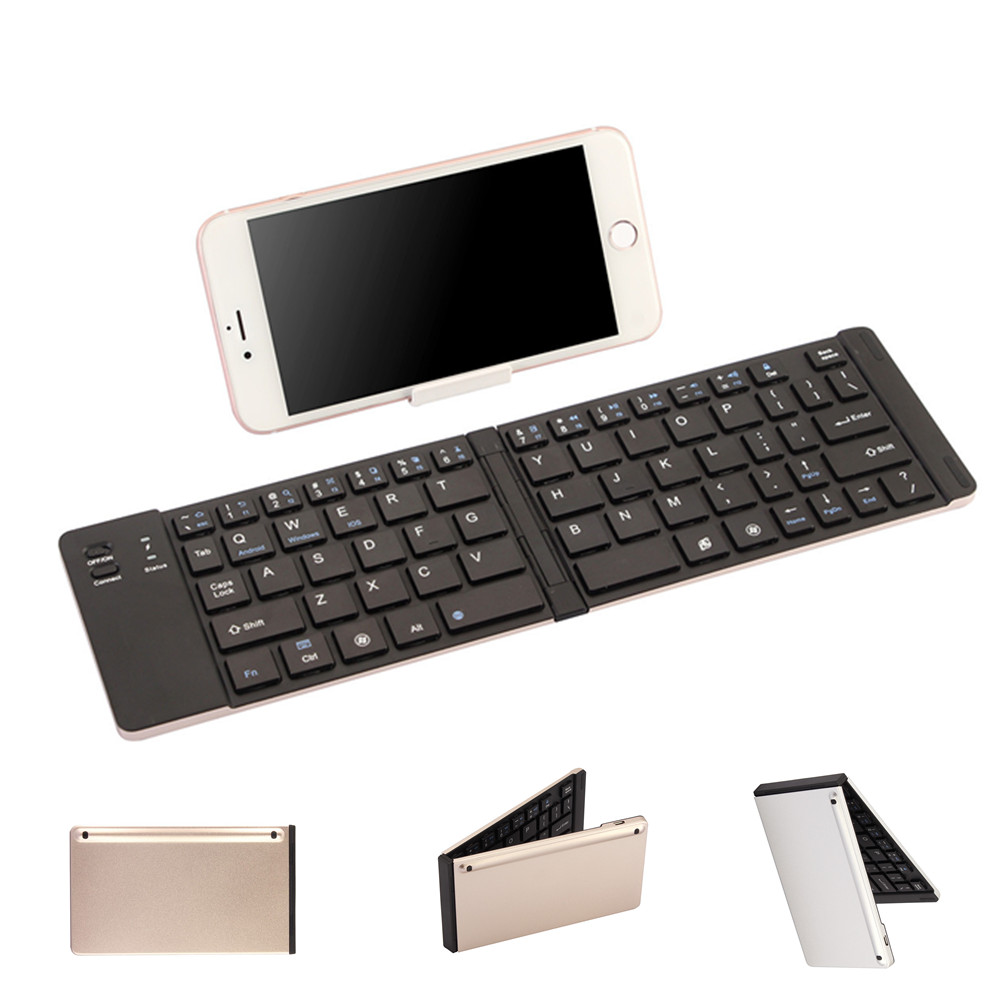 QUWIND Wireless Bluetooth Metal Folding Bluetooth Keyboard For IPad 2018 IPhone 7 8 X Samsung HuaWei Android Windows Devices