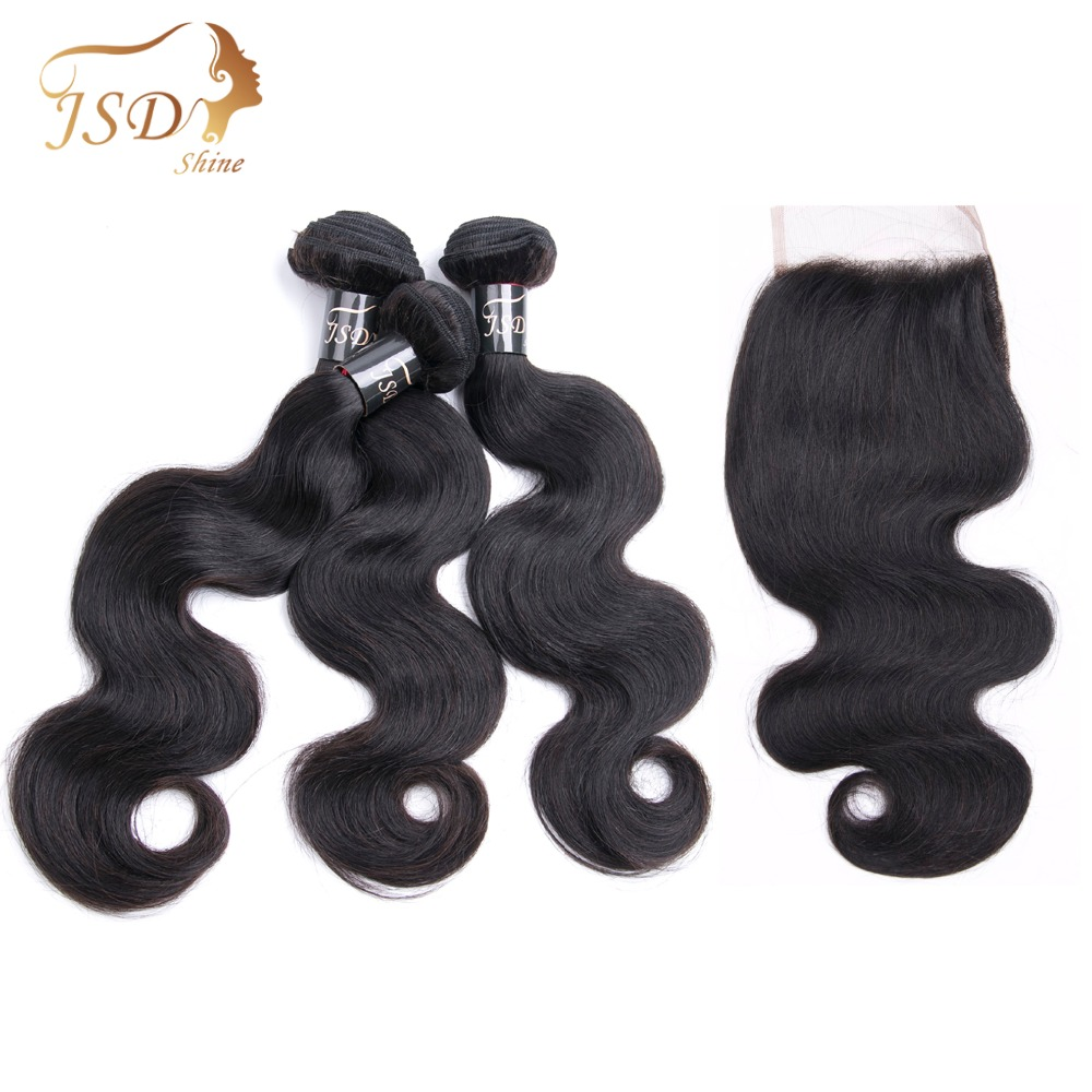 JSDShine Malaysian Body Wave Bundles With Closure 100% Human Hair 3 Bundles With Lace Closure Natural Color Non Remy Hair Weft