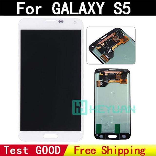 Freeshipping Original New quality for Samsung Galaxy S5 I9600 SM-G900 SM-G900F G900 LCD display touch screen Digitizer white