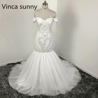High Quality Fashion Luxury White Pearl Lace Mermaid Wedding Dresses Off The Shoulder Bridal Gown Custom
