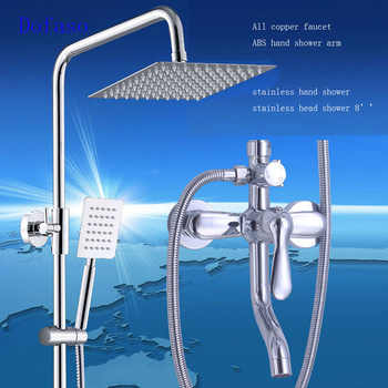 Dofaso stainless bath shower set faucet Bathroom Rainfall body Shower Faucet Set Mixer Tap With Hand Sprayer Wall Mounted chrome - DISCOUNT ITEM  19% OFF All Category