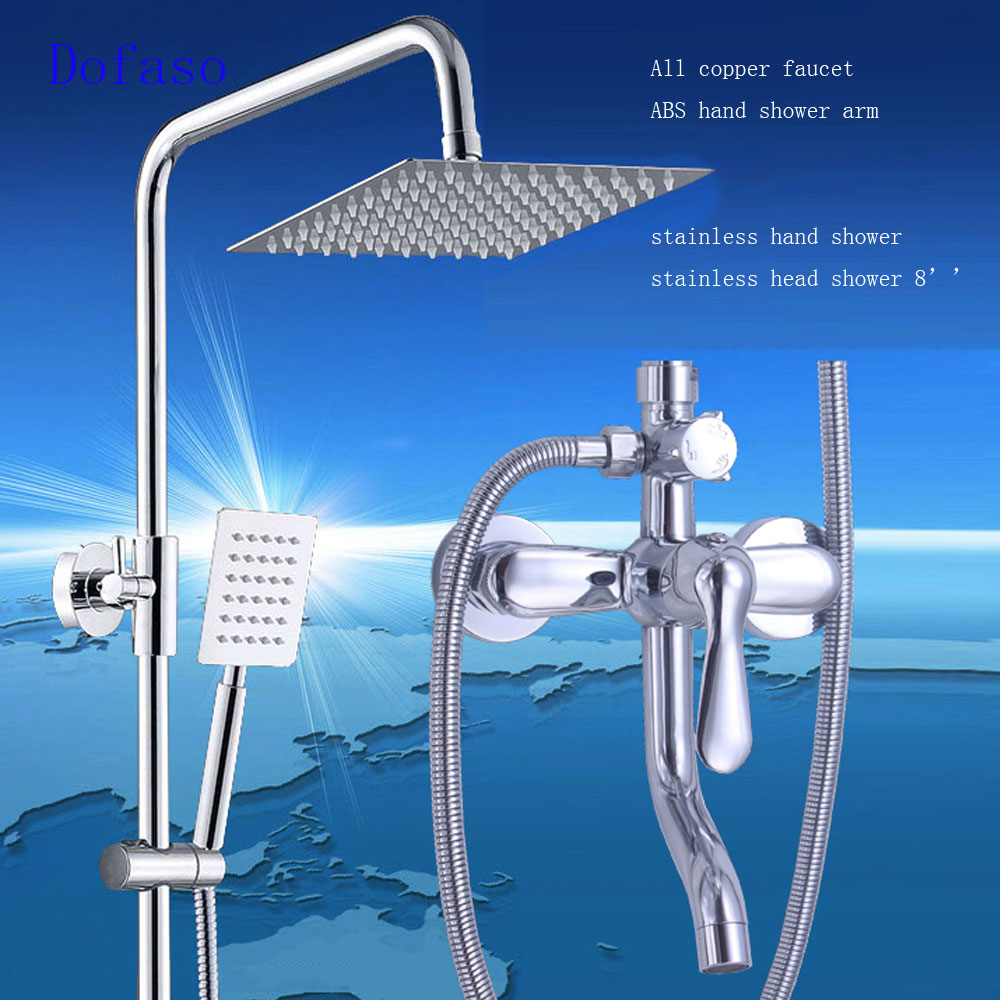 Dofaso stainless bath shower set faucet Bathroom Rainfall body Shower Faucet Set Mixer Tap With Hand Sprayer Wall Mounted chrome