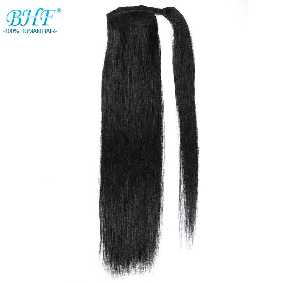 BHF cheveux humains queue de cheval droit russe Remy queue de poney Extension 2 # brun foncé 613 # Blonde 120g 24 pouces Clip en perruque - 5