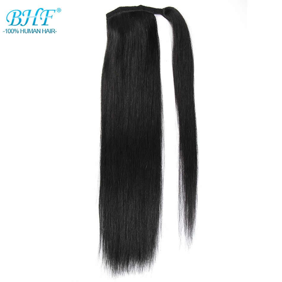 BHF ludzkie włosy w koński ogon prosto rosyjski maszyna Remy koński ogon rozszerzenie 2 # ciemnobrązowy 613 # blond 120g 24 cal klip w peruka