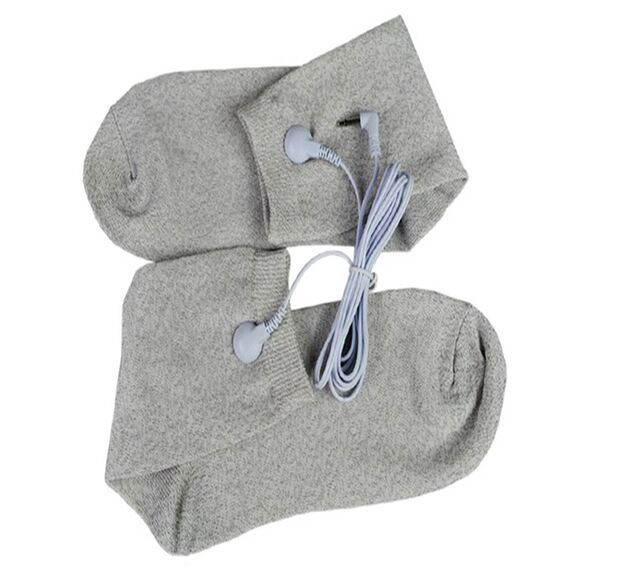 Electrical Stimulator Conductive fiber TENS/EMS electrode Socks + 1 Electrode Wires/Cable for TENS/EMS physical therapy machine 100pairs lot 3 5mm snap tens electrode lead wires connecting cables plug 2 5mm use for connect tens ems massager machine device