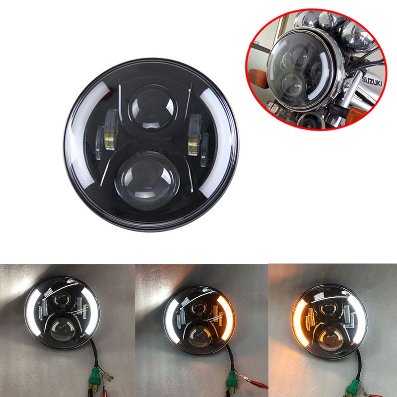 Black/Chrome 7inch Round Motorcycle LED Headlight With DRL Angel Eyes Left Right Turn Signal For Harley Honda Yamaha