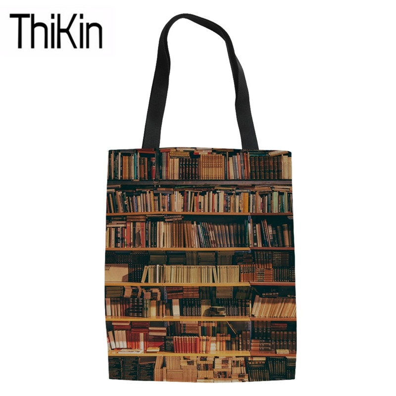 THIKIN Women's Shopping Bags Library Book Printing Foldable Shopper Bags For Teenagers Large Canvas Tote Bag Girls Book Bags