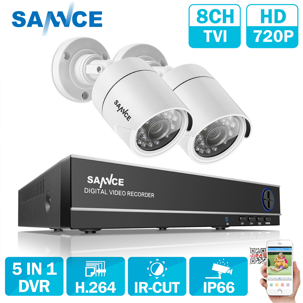 SANNCE 4 Channel 720P DVR CCTV Camera System 1TB HDD 2PCS 1200TVL 720P IR Outdoor Security Camera System Surveillance Kit inc black white women s size xl floral print keyhole back seamed blouse $69