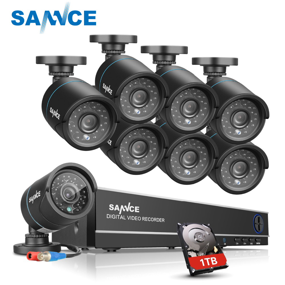 SANNCE HD 8CH 720P CCTV Security System 8PCS 1250TVL AHD 720P Video Surveillance Security Cameras DVR Kit 1TB HDD цена
