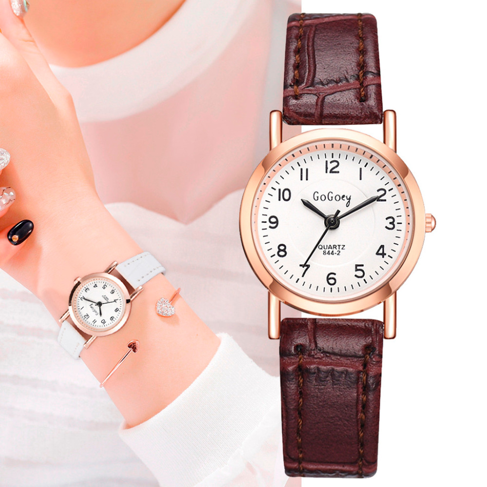 Leisure Woman Clock Woman Watch Luxury Retro Leather Bracelet Ladies Numerals Small Dial Female Watch For Student Reloj Mujer &A