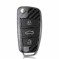 For Audi Q3 Q7 A3 A8 TT 100% Genuine Real Carbon Fiber Car Key Protective Cover Case Shell Bag Folding Key Accessories
