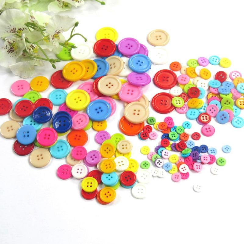 100pcs Lot Children Toys Threading Stitch Buttons Handmade