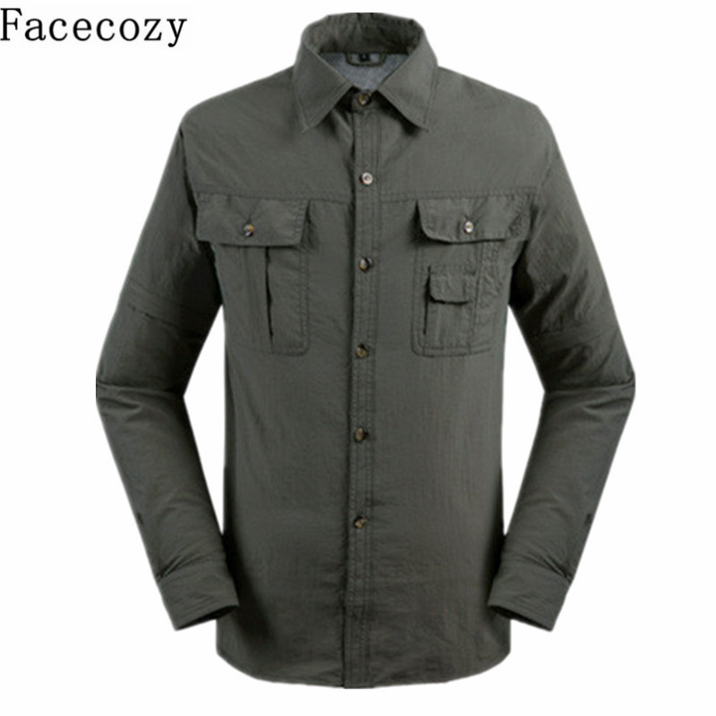 Facecozy Men Summer Outdoor UV Resistant Removable Shirt Turn-Down Collar Quick Dry Fishing Coat Trekking&Hiking Clothes slim fit turn down collar colored plaid lining solid color shirt for men