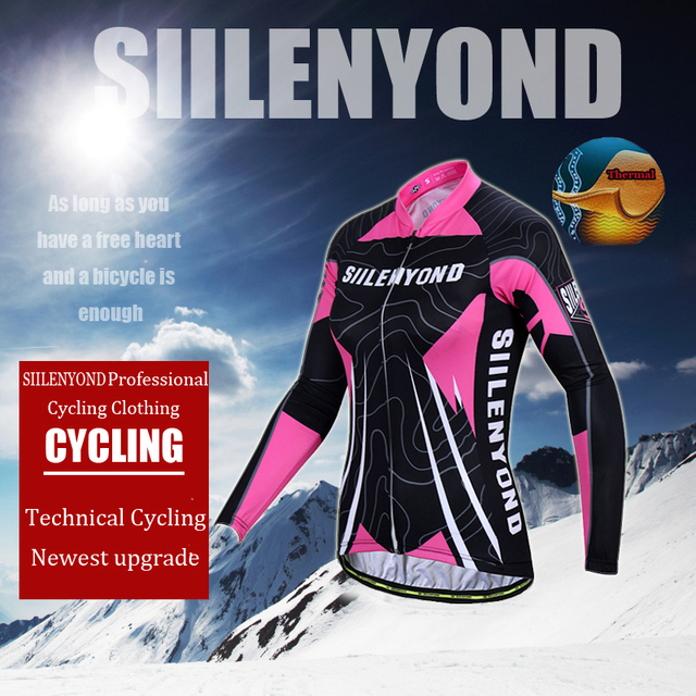 Siilenyond 2019 Women Pro Winter Thermal Cycling Jersey Long Sleeve Mountain Bicycle Cycling Clothing MTB Bike Cycling Clothes 2