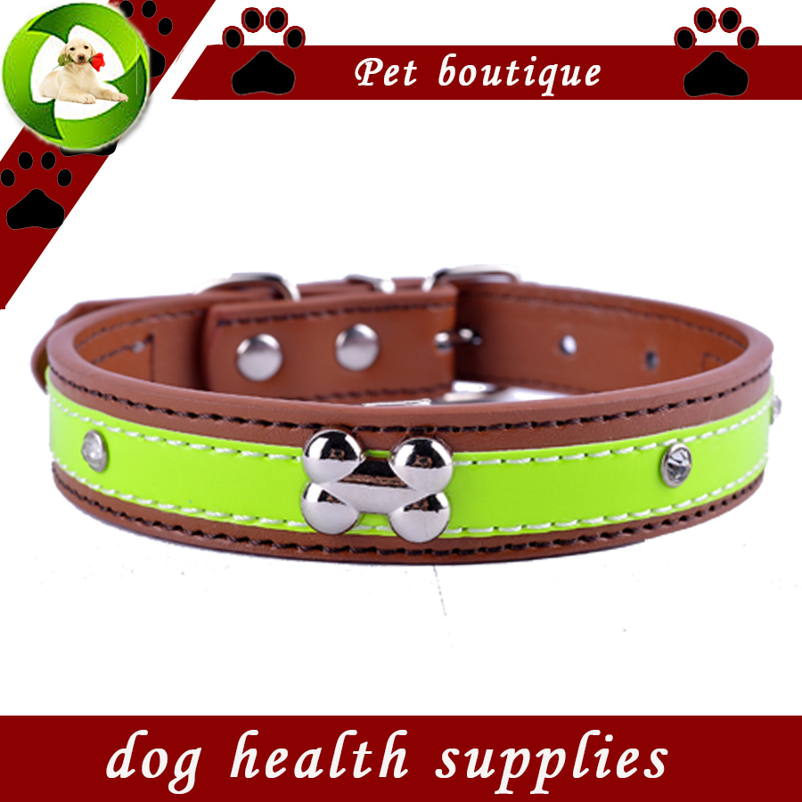 Personlig Crystal Studded Reflekterende Dog Collar Pu Lær Collars For Dogs Halskjede Pet Products For Animals