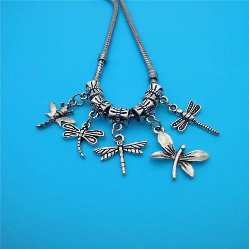 b0541cdbbd6f Mezcla de plata de la vendimia libélula Amuletos colgante para la ...