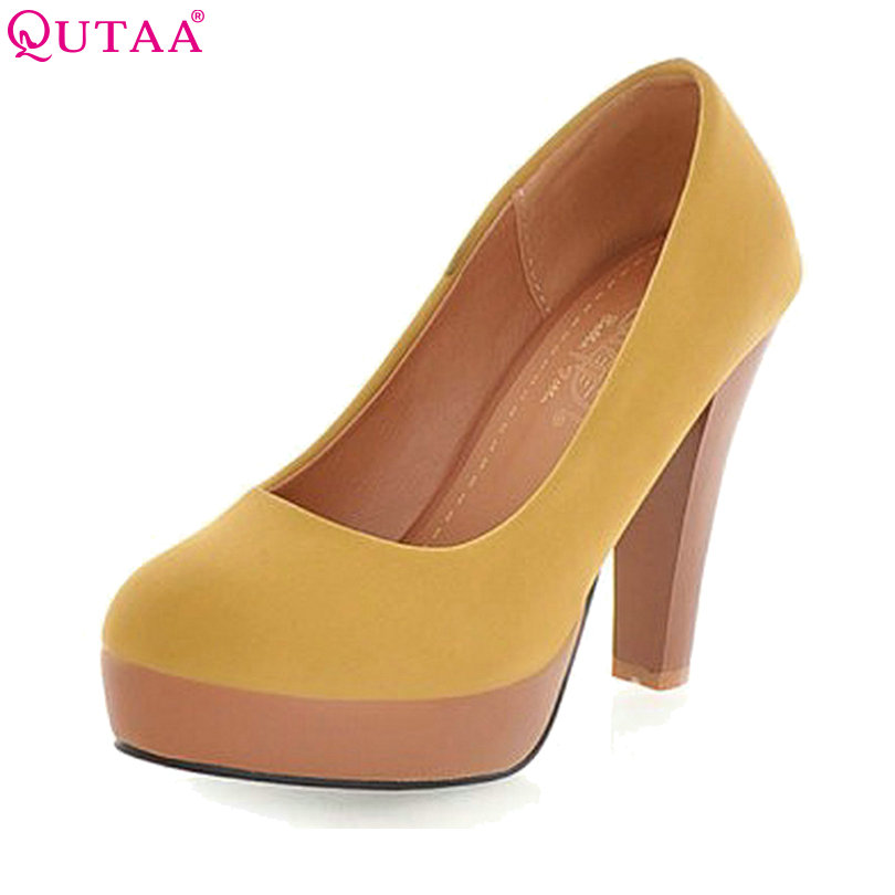 QUTAA Sexy Ladies Summer Shoes Thin High Heel Woman Pump PU leather Pointed Toe Women Wedding Shoes Size 34-39 plus size 11 12 black pointed toe wedding women shoes summer office ladies work shoes thin high heel pu leather woman pumps