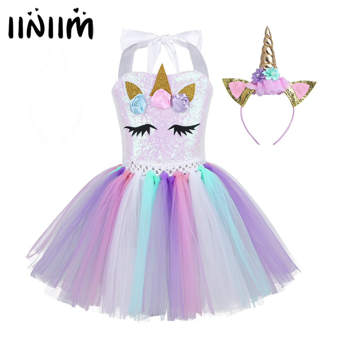 Teen Girls Cartoon Role Play Flowers Shiny Sequins  Mesh Tutu Dress Up with Hair Hoop Halloween Cosplay Party Costume for Kids