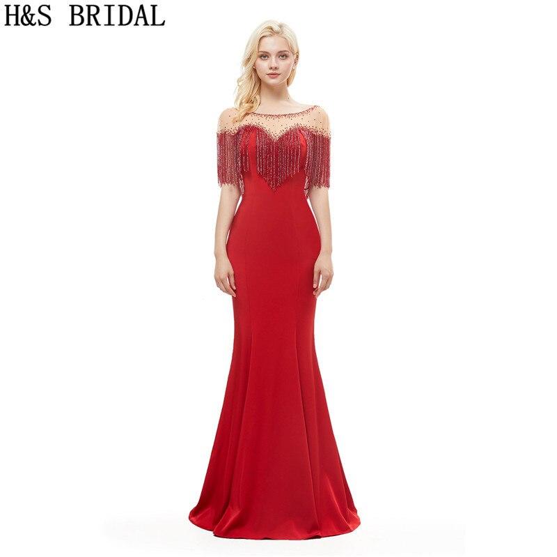 H & S robes de soirée élégantes de mariée robe rouge sirène pour dames abiti da cerimonia robes de fiançailles 2019