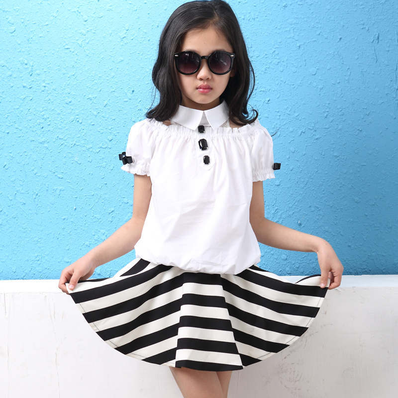 ФОТО Hot sale baby girl black and white striped dress short suit trendy style three button collar dress shirt skirt set for children