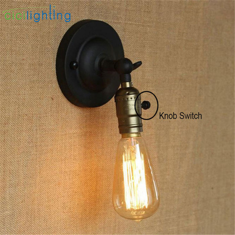 Vintage knob switch Wall sconces lamp miniature aisle bed balcony cafe home mini decorative wall light sconce fixture loft style