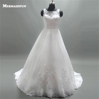 2017 A Line Scoop See Through Back Lace Appliques Beaded Long Floor Length Wedding Dresses Western