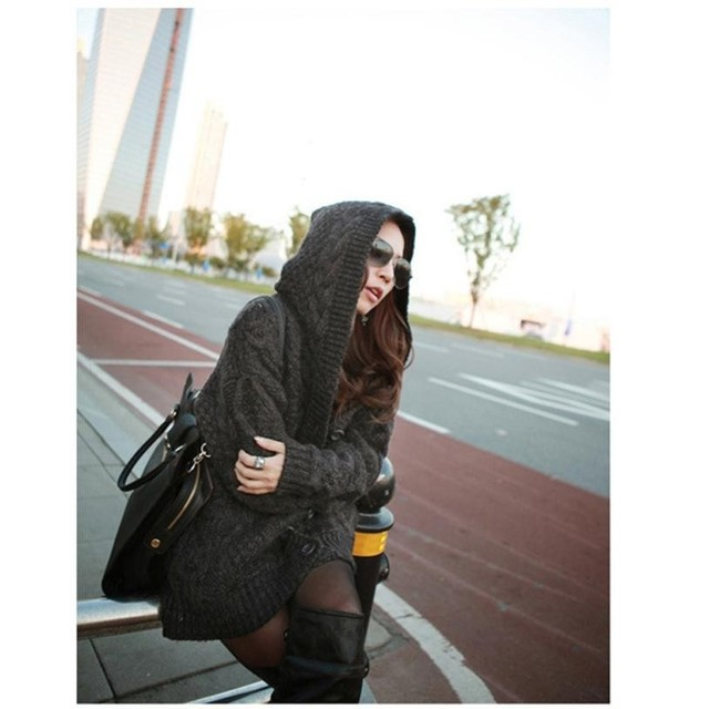 Korean Knitwear Women Hooded Long Sleeve Cardigan Sweater Coat ...