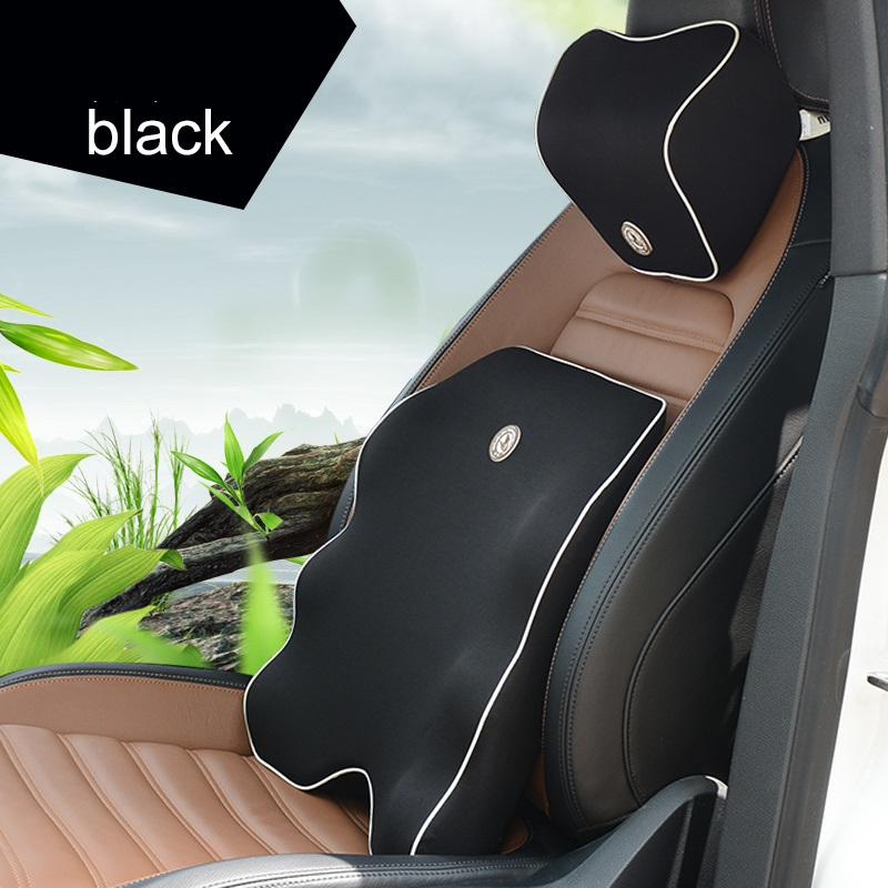 Lumbar Support for Office Chair Car Seat Headrest Pillow Auto Back Cushion Seat Supports Cushion Memory Cotton Car Pillows Black