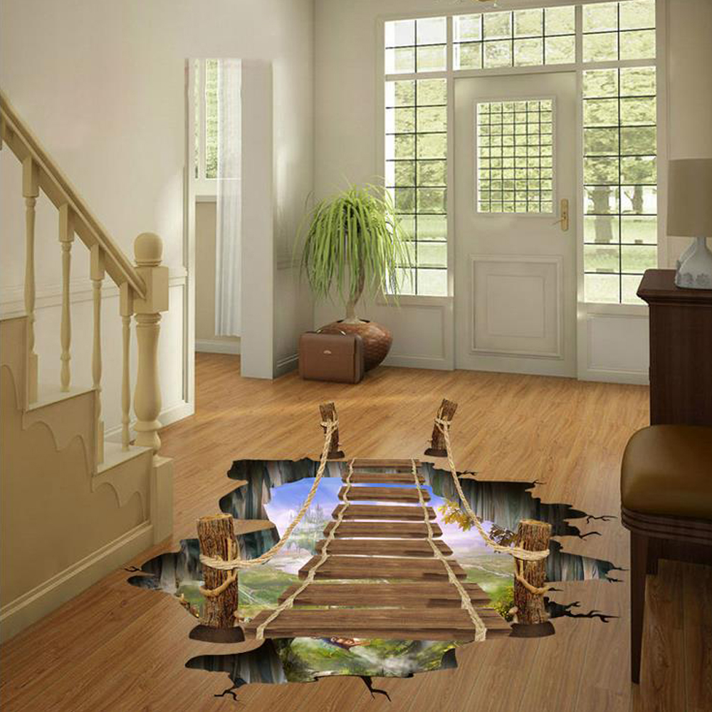 3D Cartoon Wooden Bridge Floor Sticker Wall Decal Home ...