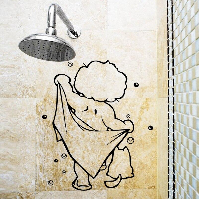 Desenhos animados bonitos crianças banho adesivos de parede janela da porta de vidro à prova dwaterproof água decoração arte mural do chuveiro do bebê banheiro vinil adesivo decalques