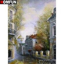 HOMFUN Diy Diamond Painting Cross Stitch Set House landscape Home Decor Square Round Embroidery 5D Needlework A17882