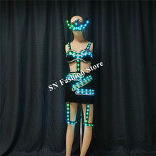 TC-188 Programmable full color women sexy dance led costumes luminous light bra skirt with mask dj wears stage dresses clothes