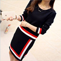 Women Sale 2016 Autumn And Winter Sweater Dresses To Korean Version Of The New Stripe Long Paragraph Hedging Two Piece