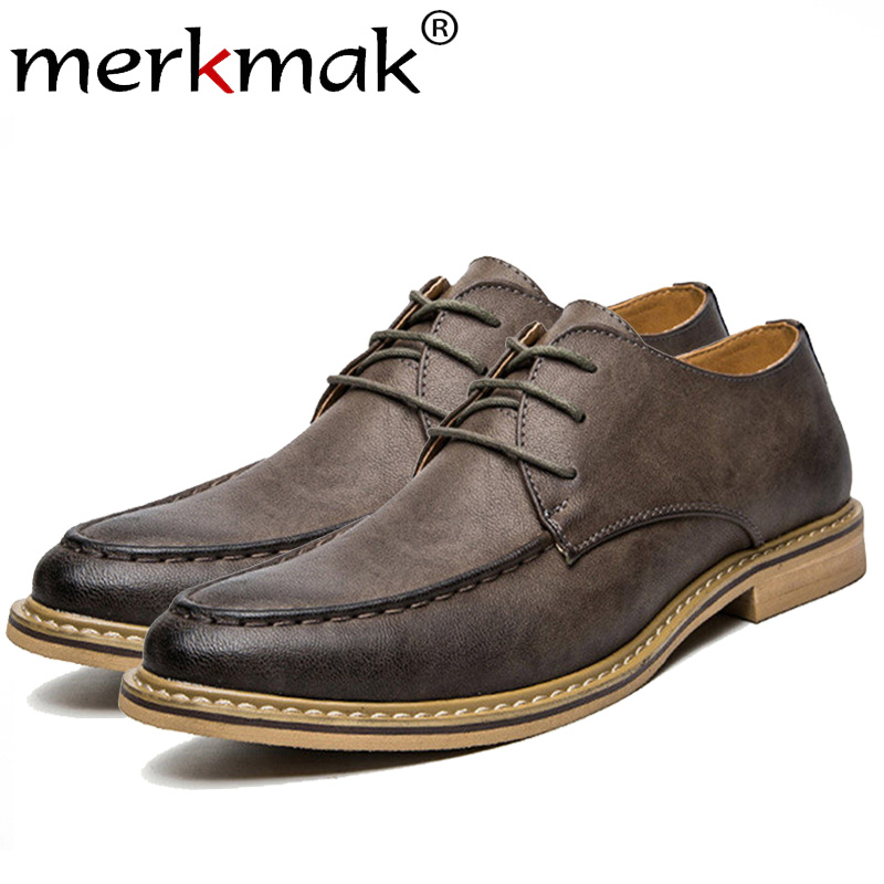 Merkmak Fashion Vintage British Style Casual Men Shoes Oxfords Business Man Flats Footwear Breathable Comfortable Outdoor Shoes