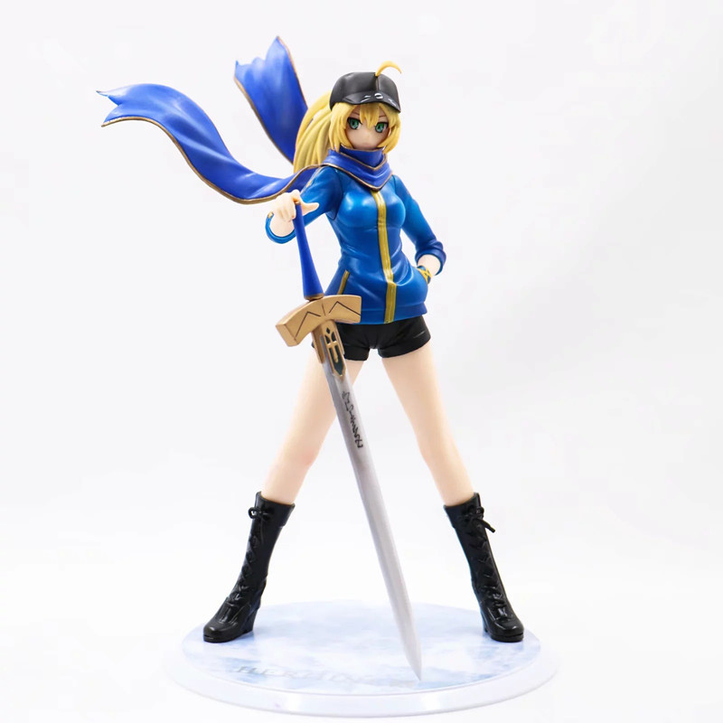Anime Fate Stay Night Saber Saber Blue Sports Clothes Ver PVC Action Figure Collectible Model doll toy 22cm