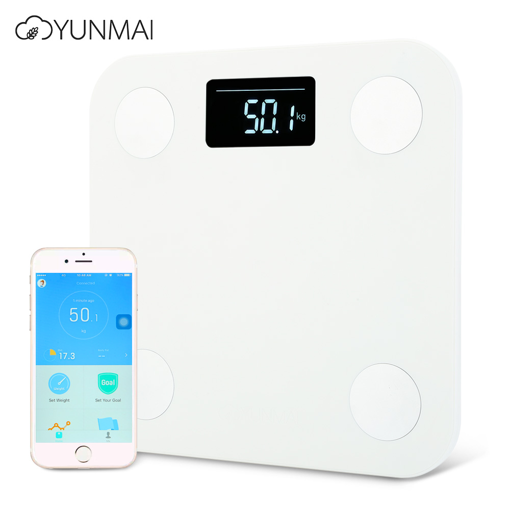 Original YUNMAI Scales White Mini Smart Household Premium Support Bluetooth APP Fat Percentage Digital Body Fat Weighing Scale high quality precise jewelry scale pocket mini 500g digital electronic balance brand weighing scales kitchen scales bs