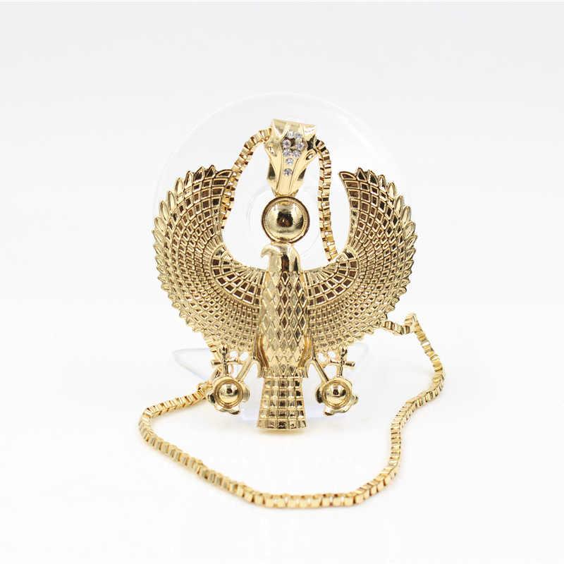 Date mode métal or couleur égyptien Horus oiseau faucon tenant Ankh pendentif collier bavoir chaîne Choker Animal Hiphop collier