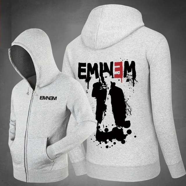 Hot Star Eminem Hoodies Side pockets Hoody  Sweatshirts Outerwear Unisex Cotton Zipper Coat