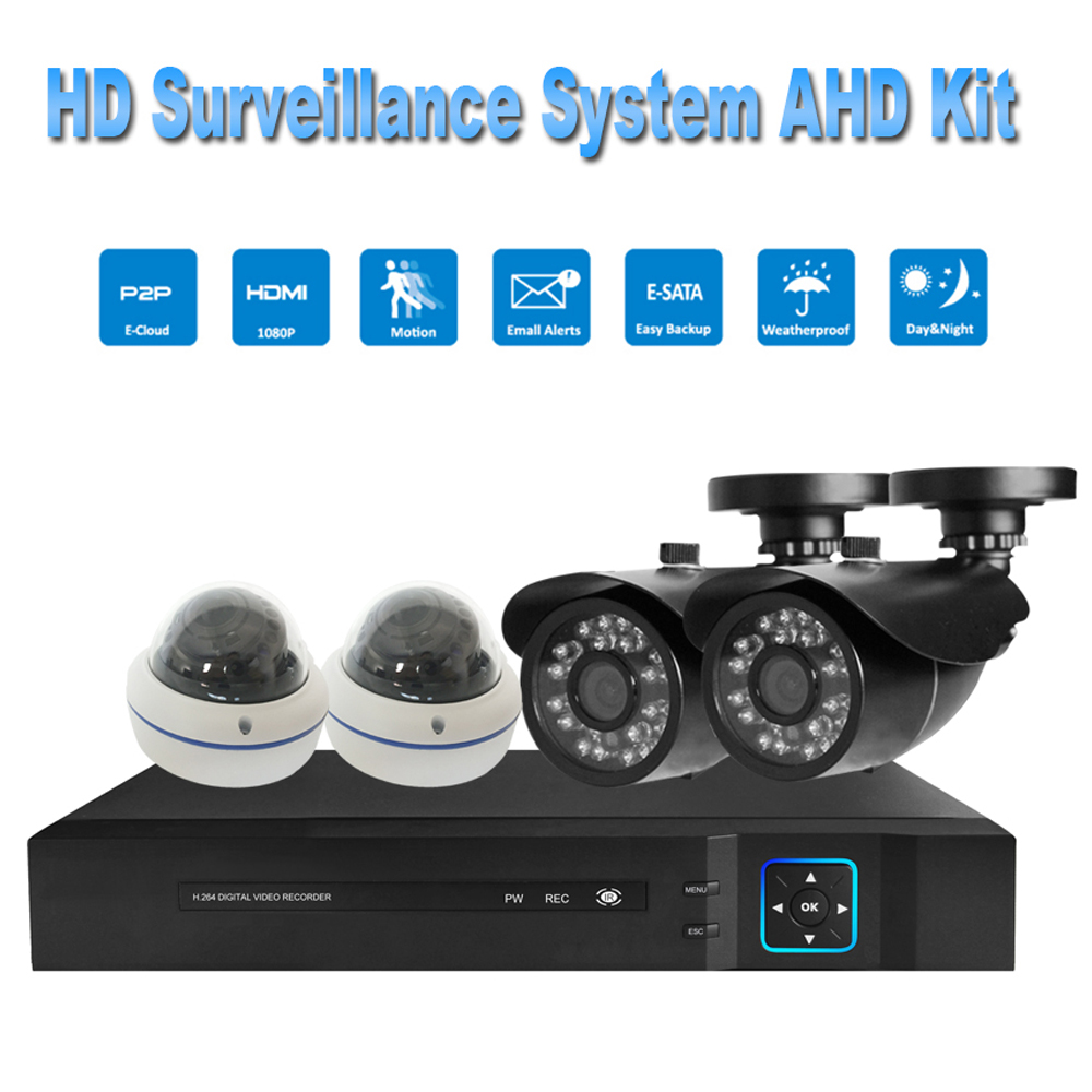 PUAroom 4CH Full HD 1080P IP66 night vision AHD camera RoHS FCC CE approved H.264 onvif video recording House Security System
