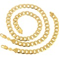 "Gold Filled Men Necklace Bracelet Set 10mm Cuban Curb Chain Necklace Jewelry Set (24""+9"")"