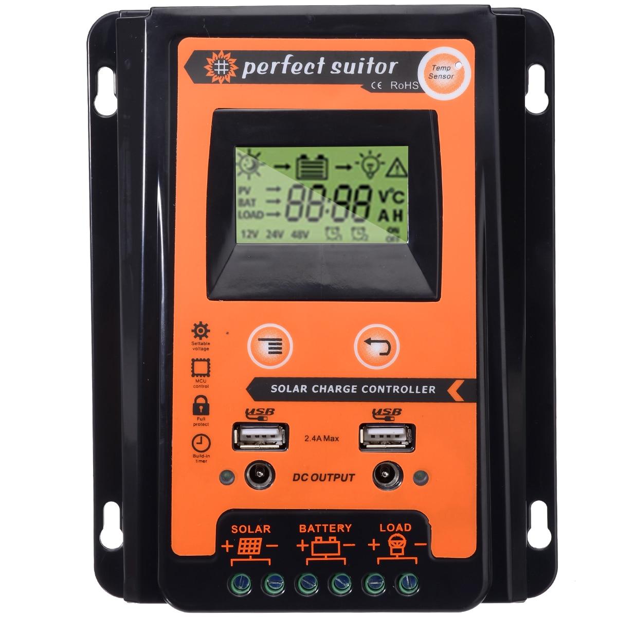 12 V/24 V 30A MPPT солнечные контроллеры панель солнечной батареи Регулятор двойной USB ЖК-дисплей Контроллер заряда солнечной энергии