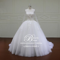 Long Sleeve Wedding dress Plus size Lace Pearls beading Ball Gown white ivory african wedding gowns robe mariage XF16023