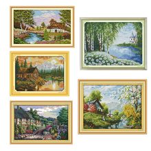 New Joy Sunday Needlework DMC Cross Stitch Sets For Embroidery Kits 11 14CT Landscape Sunset Cotton Thread Painting